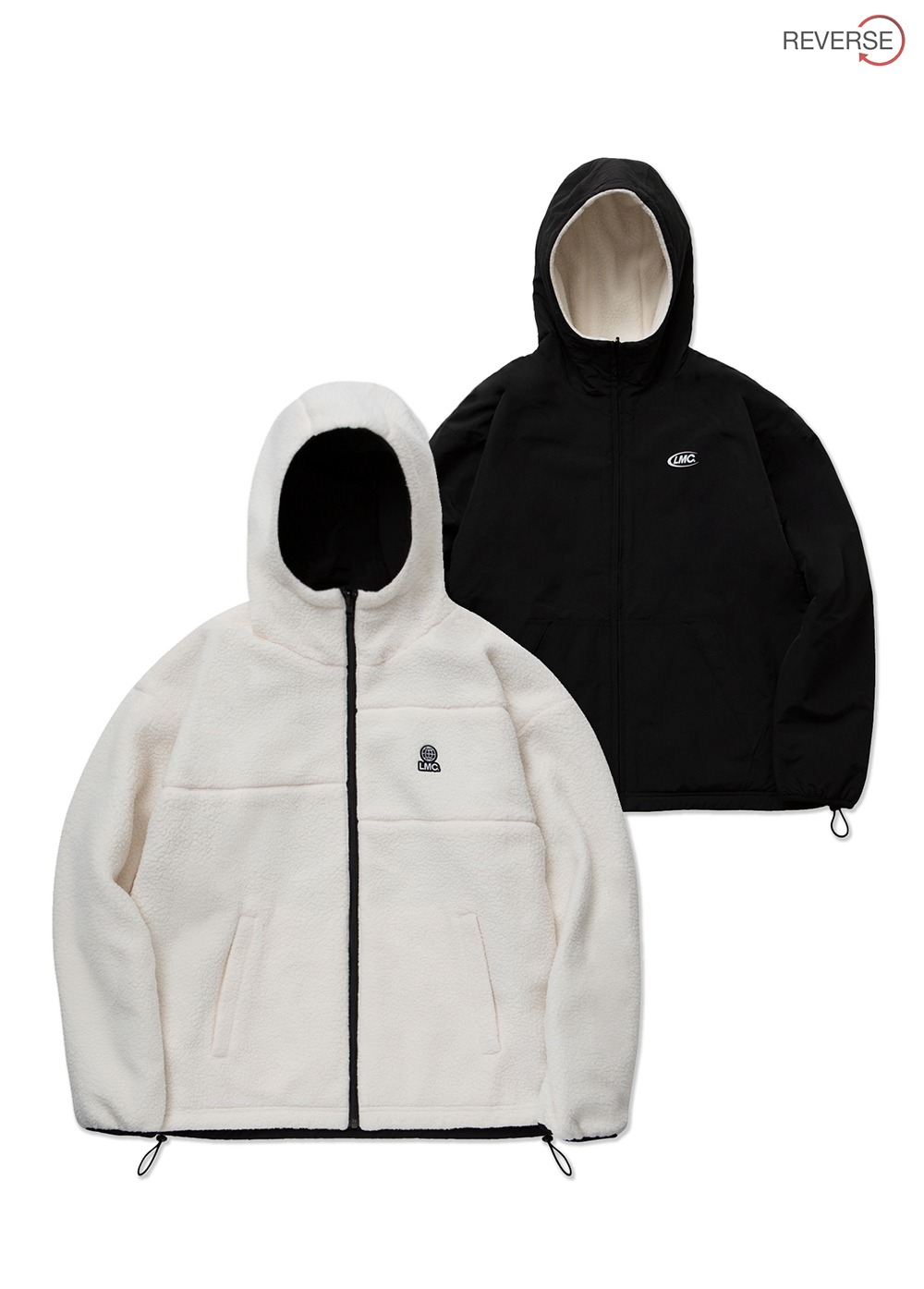 LMC BOA FLEECE REVERSIBLE HOODED JACKET cream/black