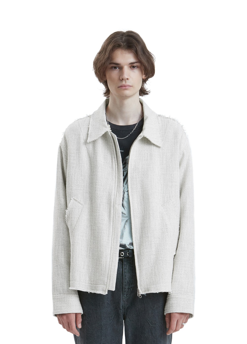 LIFUL CUT-OFF TWEED JACKET ivory