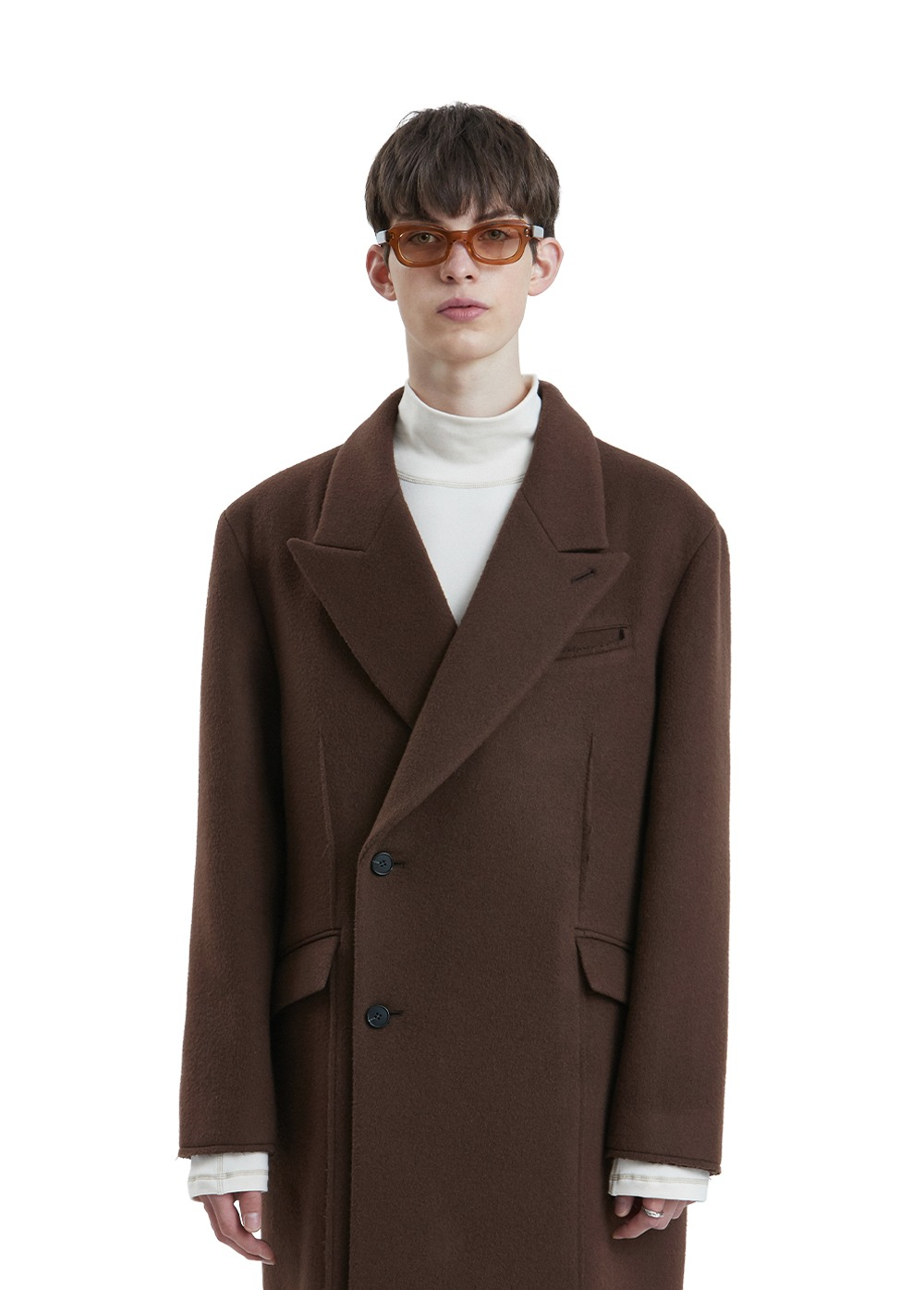 LIFUL CUT-OFF DOUBLE BREASTED COAT brown