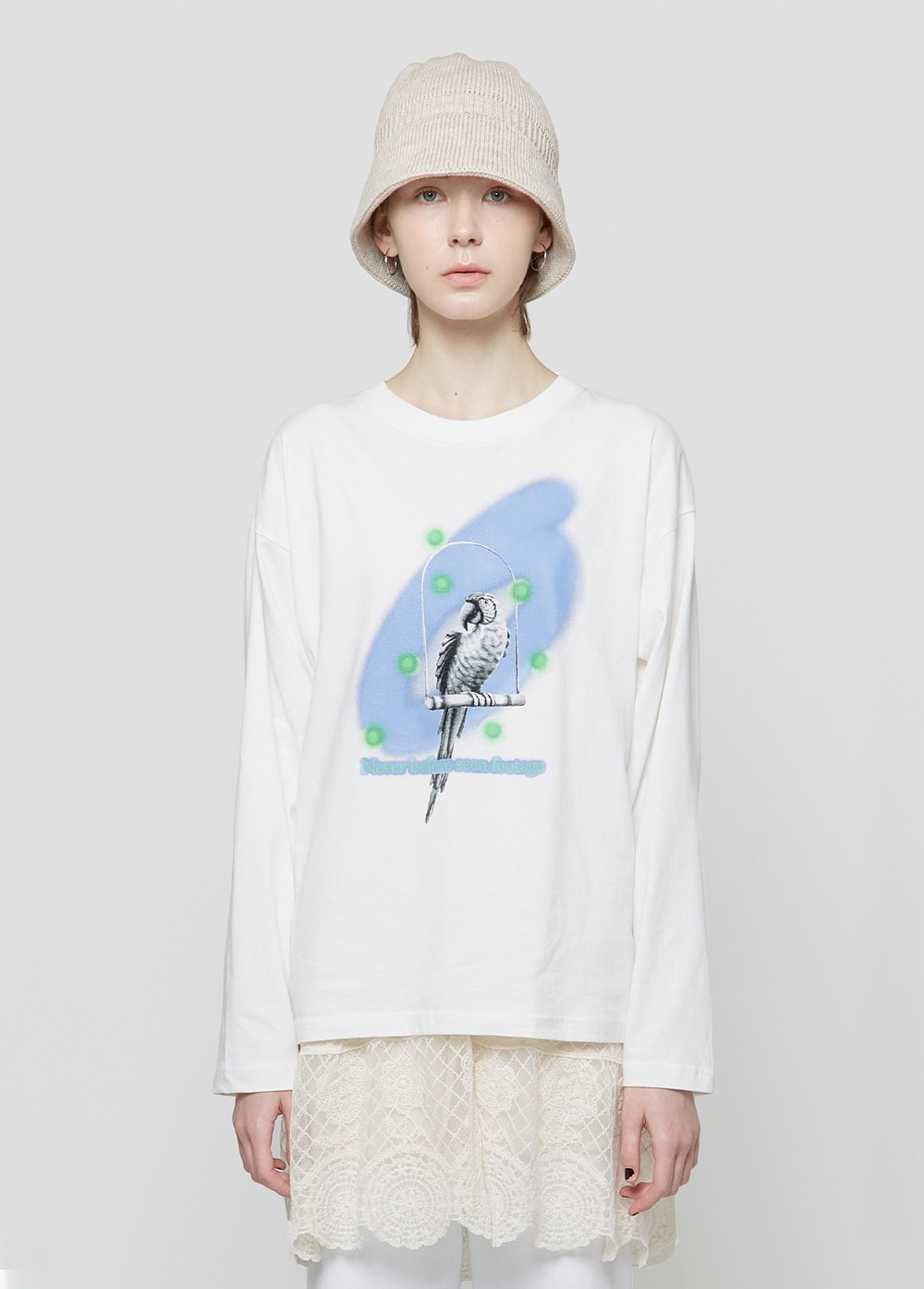 KANCO NOISE EFFECT LONG SLEEVE TEE white