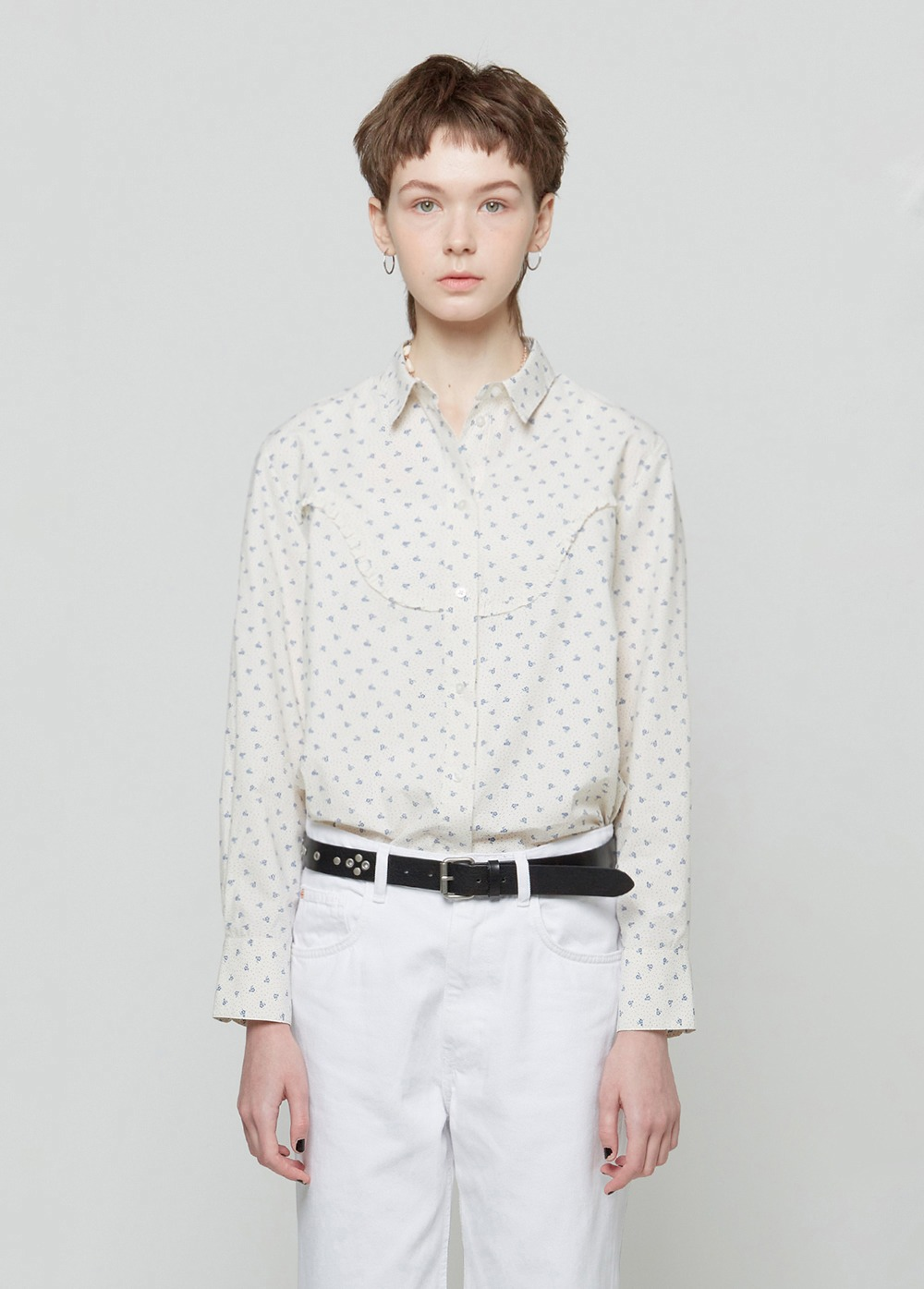KANCO FLOWER FRILL SHIRT ivory