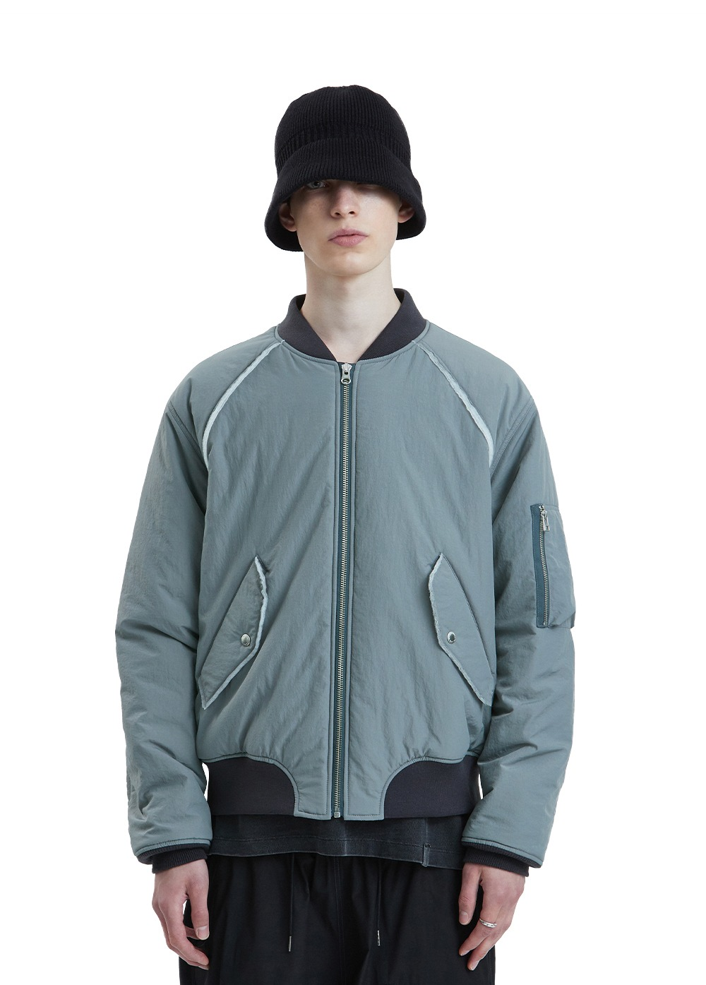 LIFUL MA-1 PADDED BOMBER JACKET blue gray