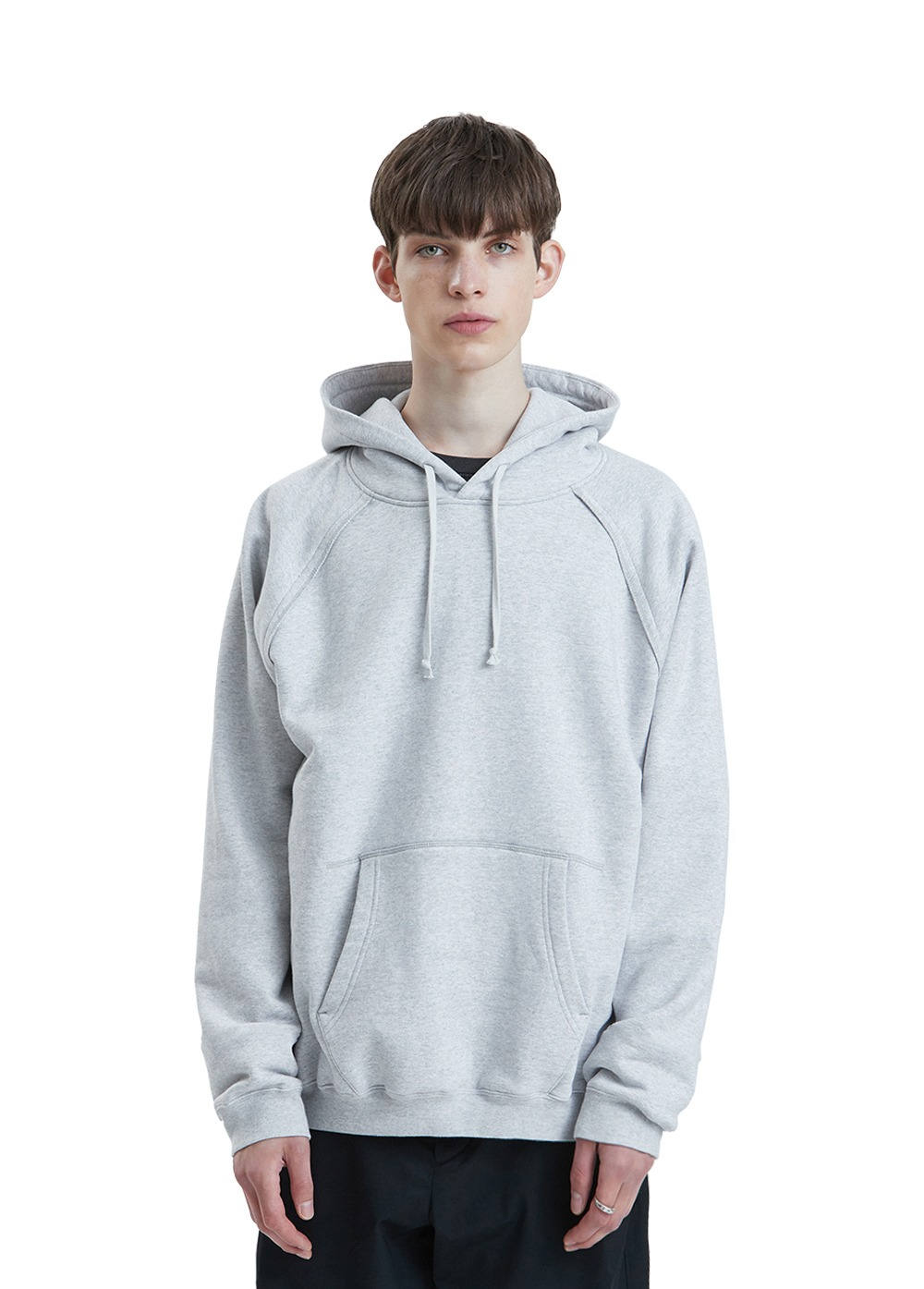 LIFUL SEAM OUT RAGLAN HOODIE melange gray
