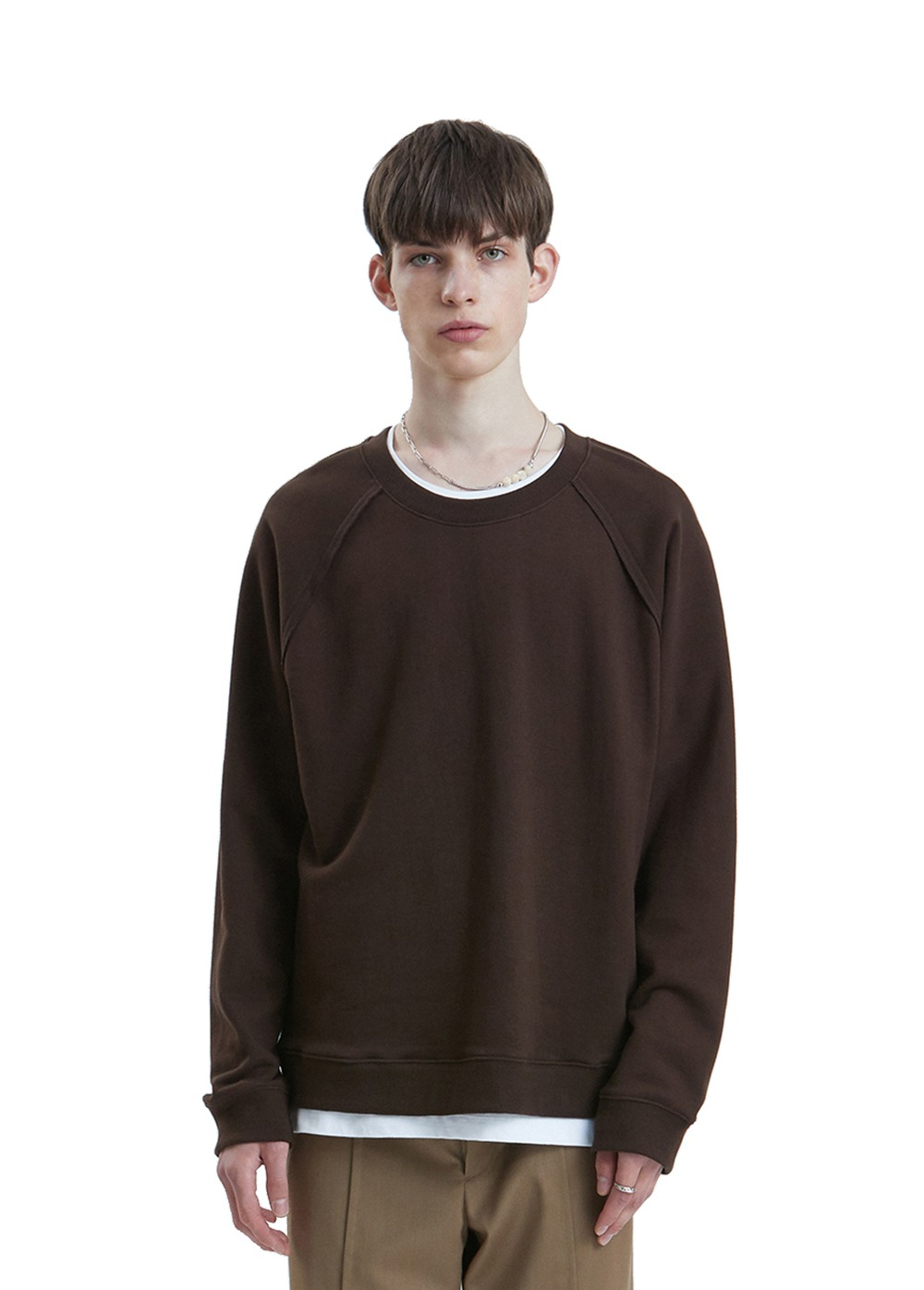LIFUL SEAM OUT RAGLAN SWEATSHIRT dark brown