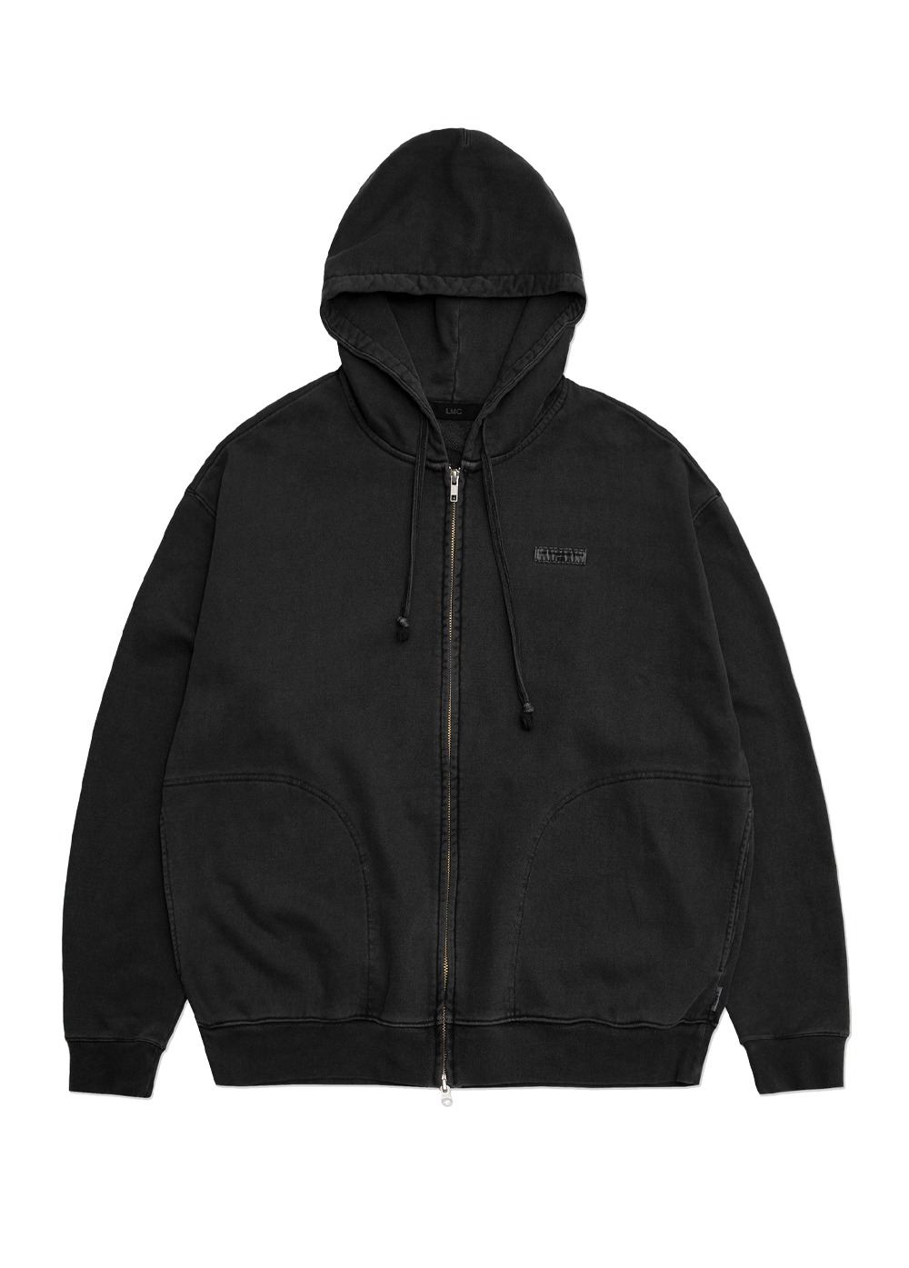LMC OVERDYED ARCH ZIP-UP HOODIE charcoal