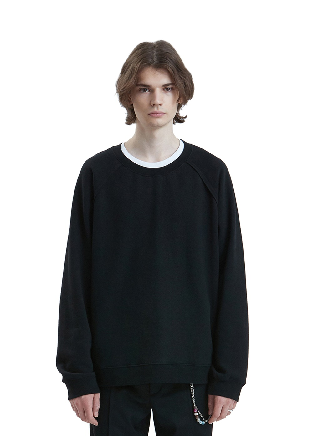 LIFUL SEAM OUT RAGLAN SWEATSHIRT black