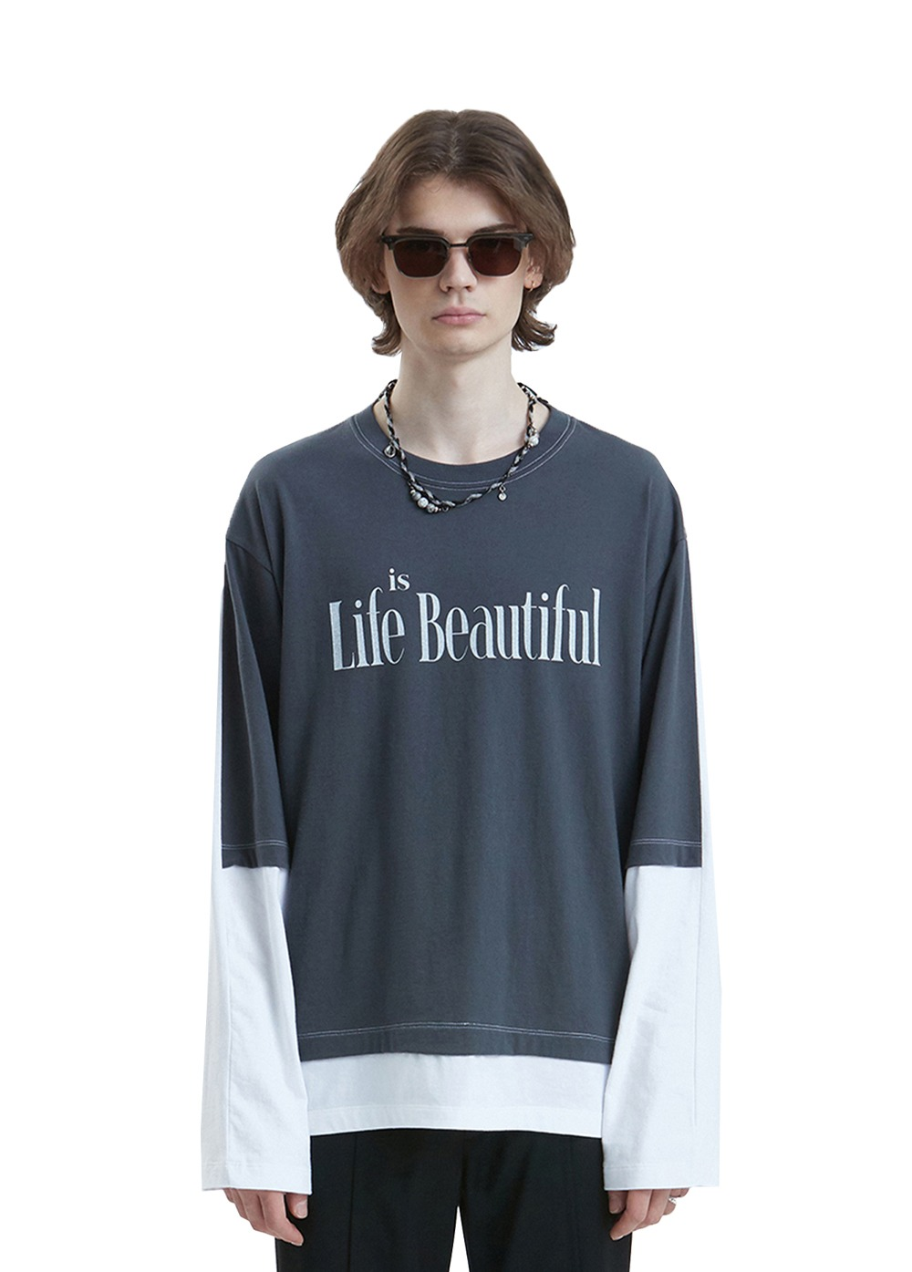 LIFUL SLOGAN LAYERED LONG SLEEVE TEE dark gray/white