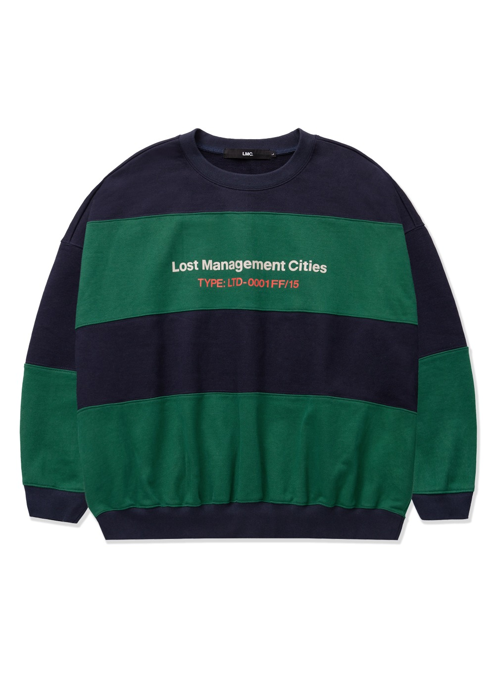 LMC STRIPE CROP OVERSIZED SWEATSHIRT navy
