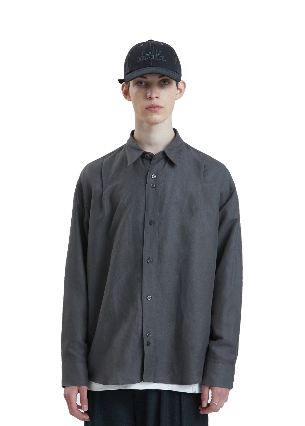 LIFUL ONE TUCK SHIRT charcoal