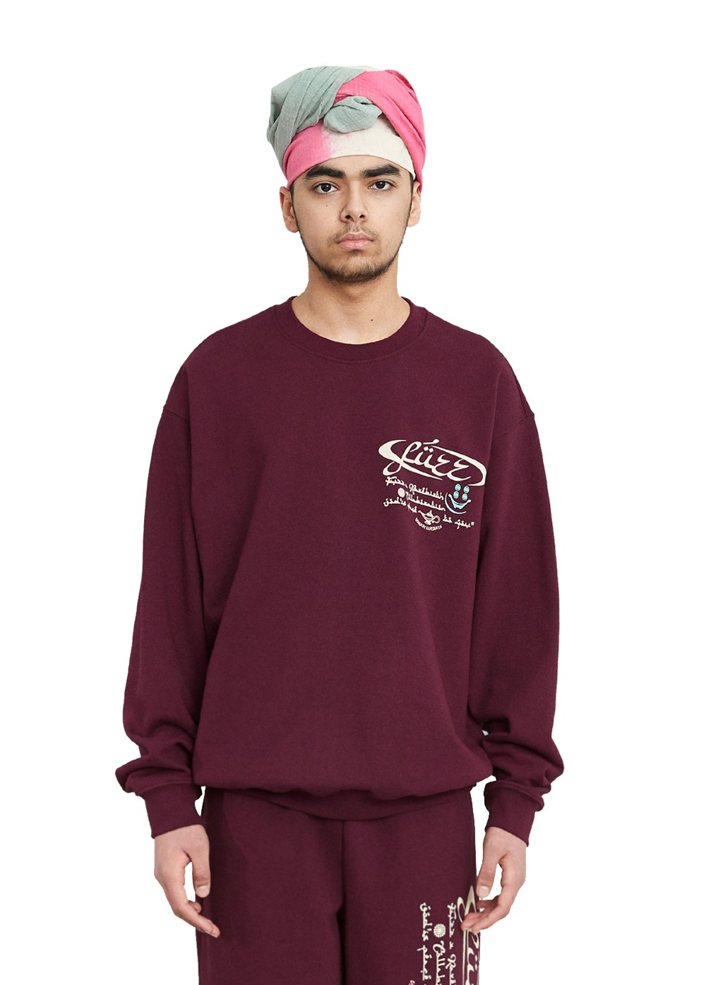 FUZZ X RAREBIRTH ASSALAMU ALAYKUM SWEATSHIRT burgundy