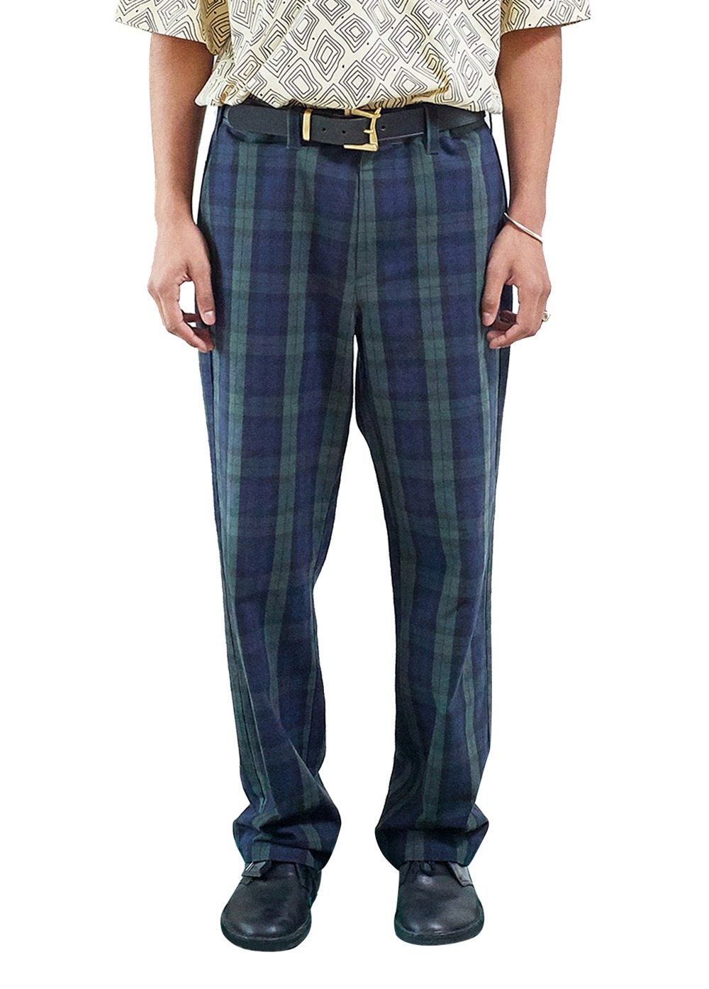 FUZZ CHECK CHINO PANTS dark green