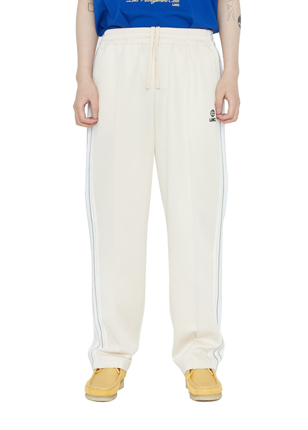 LMC SIDE STRIPED JERSEY PANTS cream