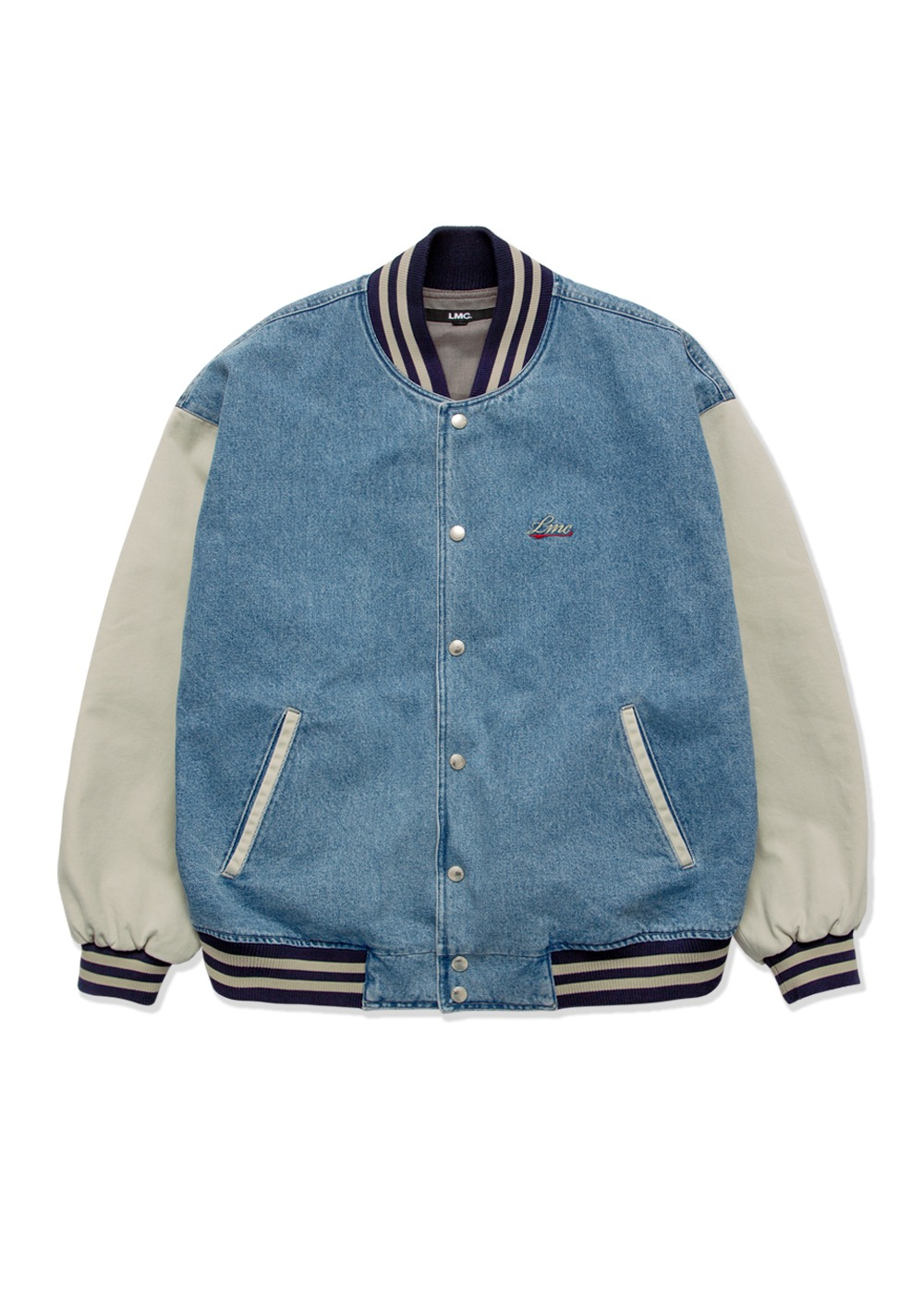LMC WASHED DENIM BASEBALL JACKET blue