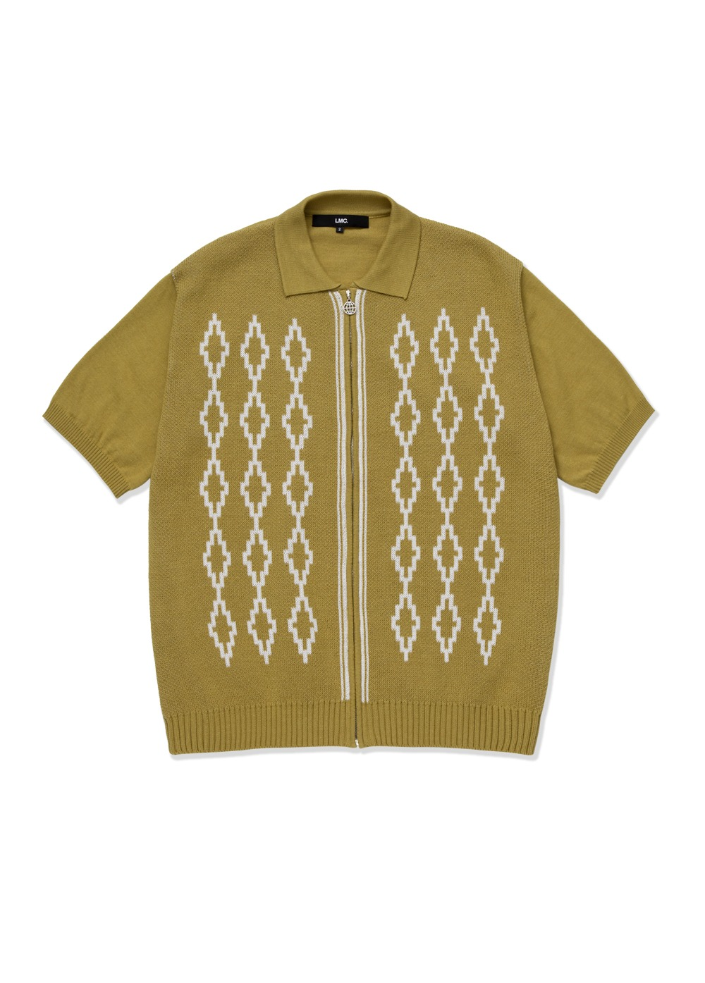 LMC DIAMOND ZIP UP KNITTED POLO SHIRT olive