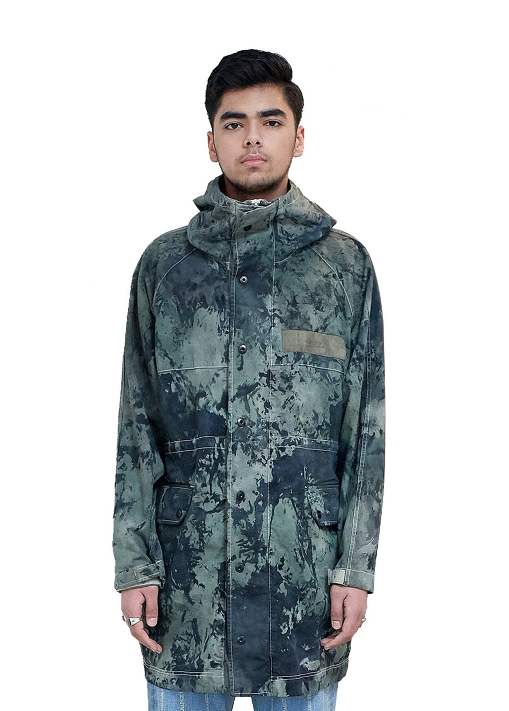 FUZZ HOODED COAT camo