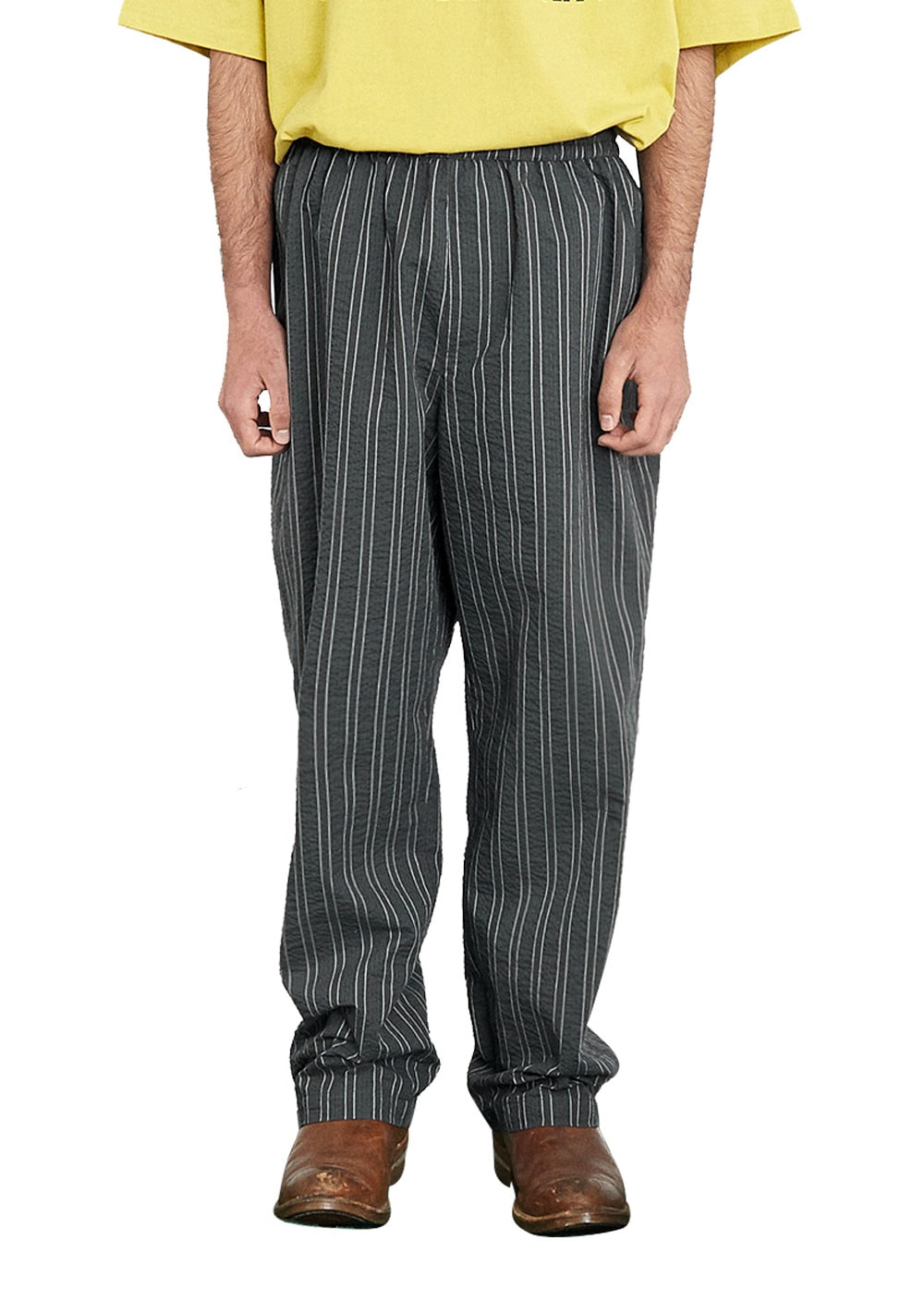 FUZZ SEERSUCKER STRIPE EASY PANTS charcoal