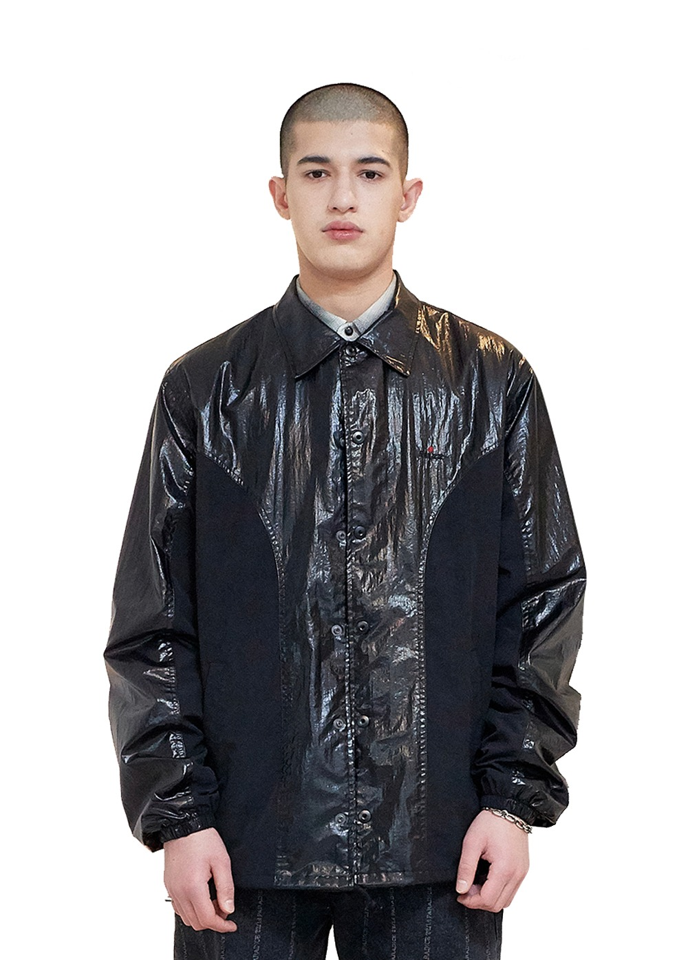 FUZZ SHINY VINYL WORK JACKET black