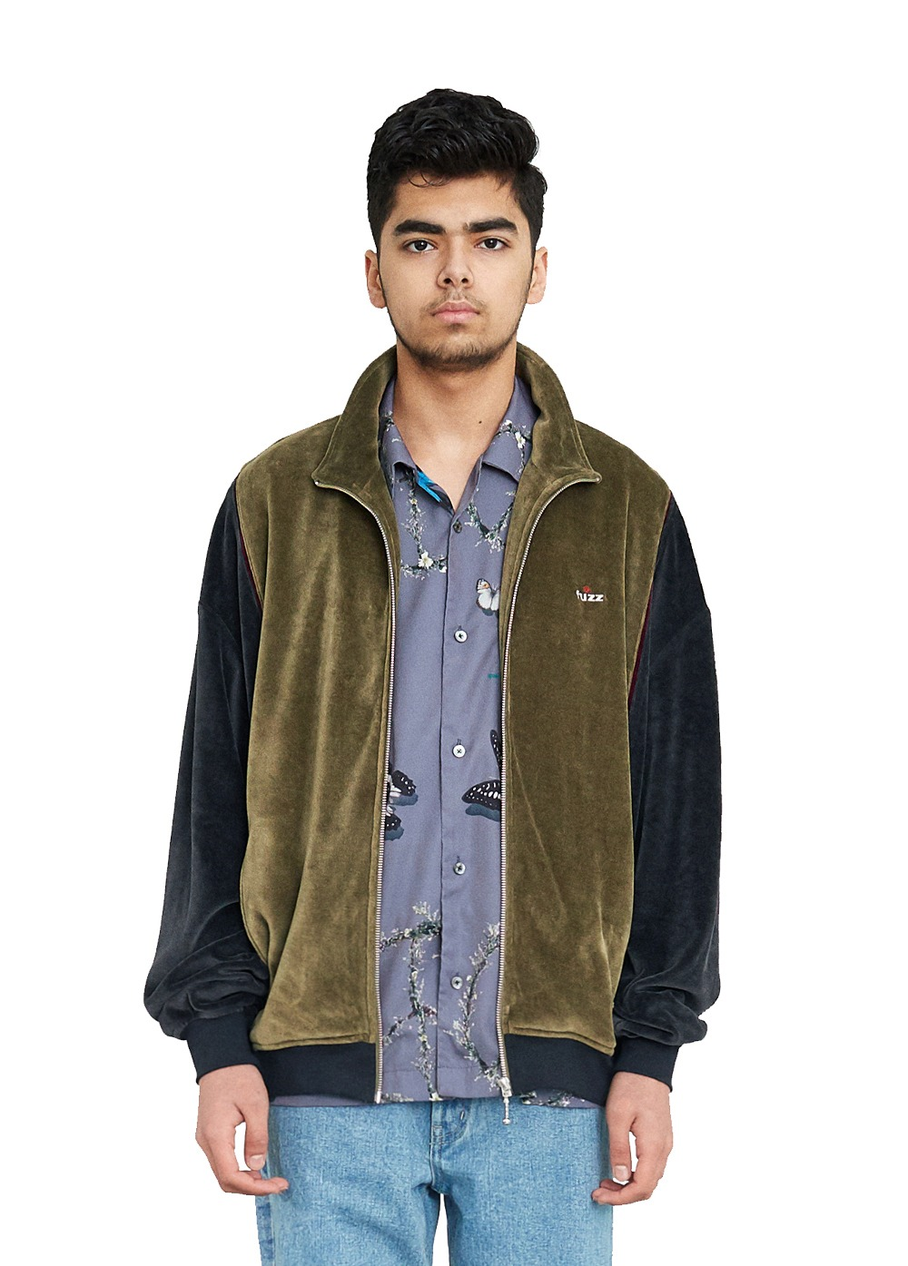 FUZZ SOFT VELOUR JACKET olive/charcoal