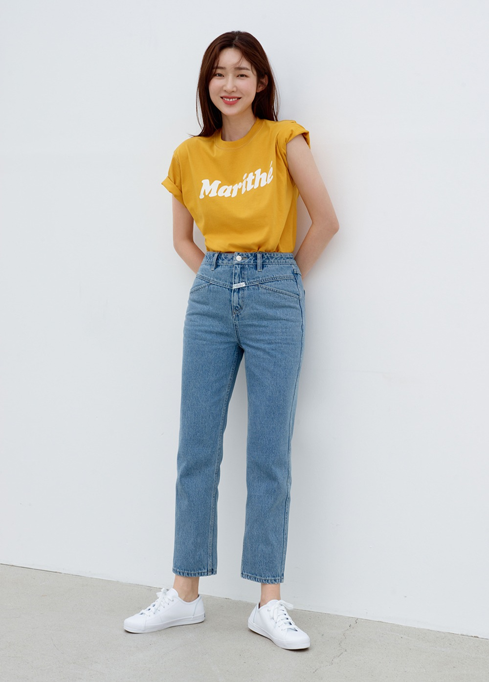 MARITHE X 차정원 W PEDAL PUSHER CROP DENIM light blue